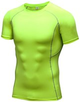 Audoc Men's Short Sleeve Athletic Compression Under Base Layer Sport Shirt Size L US