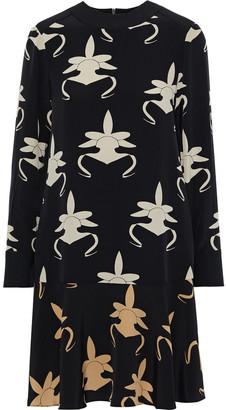 Tibi Printed Silk-crepe Dress