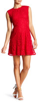 Maggy London Cap Sleeve Lace Fit & Flare Dress (Petite)
