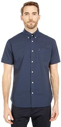 Ben Sherman Short Sleeve Woven (Blue/Grey) Men's Clothing