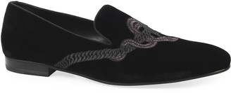 Roberto Cavalli Men's Venetian Loafer with Embossed Snake Logo