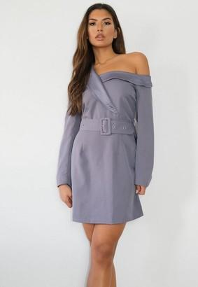Missguided Blue Off The Shoulder Blazer Dress