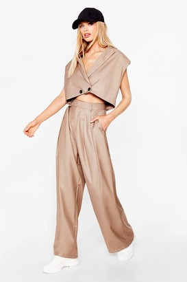 Nasty Gal Womens When It Suits You High-Waisted Wide-Leg trousers - Beige - 8