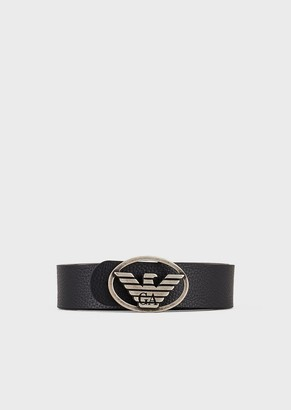 Emporio Armani Leather Belt With Eagle Buckle