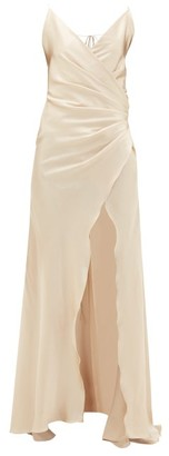 Adriana Iglesias Scarface Silk-blend Charmeuse Maxi Dress - Womens - Light Gold