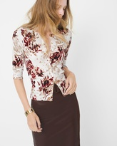White House Black Market Floral-Print Cardigan