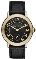 Marc Jacobs Riley Goldtone and Leather Dress Watch CLSC36IPGBLKSTRP