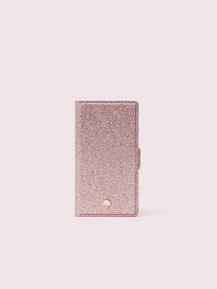 Kate Spade Burgess Court Glitter Iphone X & Xs Magnetic Wrap Folio Case