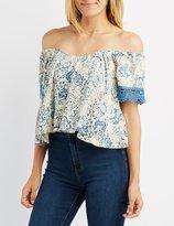 Charlotte Russe Crochet-Trim Off-The-Shoulder Sweetheart Top