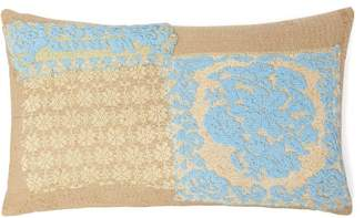 By Walid Beaded Embroidered Lace And Linen Cushion - Womens - Blue Multi