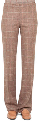 Akris Classic Plaid Flannel Pants, Steppe