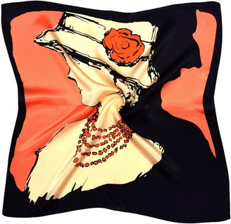 Bees Knees Fashion Black Red Cream Woman Face Printed Thick Small Silk Square Scarf