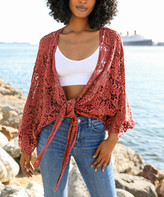 Leto Collection Women's Open Cardigans Rust - Rust Floral Crochet Tie-Front Kimono - Women