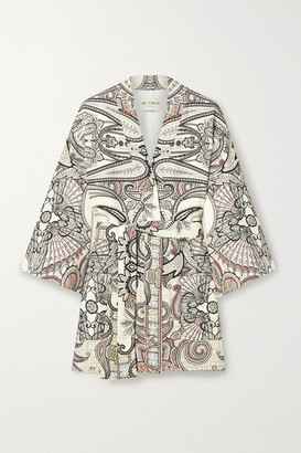 Etro Belted Paisley-print Wool And Silk-blend Twill Jacket - Ivory