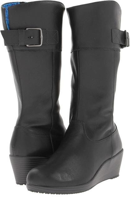 Crocs A-Leigh Leather Boot (Black/Charcoal) - Footwear