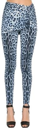 Roberto Cavalli Leopard Print Jersey Leggings W/ Skirt