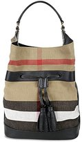 Burberry Woman's Susanna Beige Plaid Check Canvas Leather Tote Bucket Bag Handbag