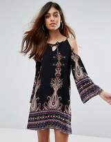 Love & Other Things Boho Cold Shoulder Mini Dress