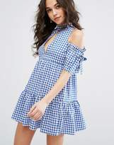 Missguided Cold Shoulder Gingham Dress