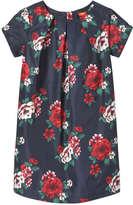 Joe Fresh Kid Girls' Floral Pleated Dress, JF Midnight Blue (Size 14)