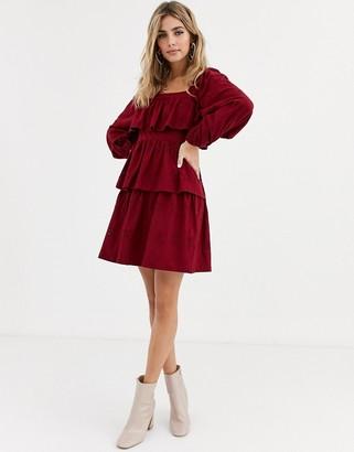 ASOS DESIGN broderie square neck ruffle mini dress in berry
