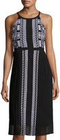 Neiman Marcus Embroidered Chiffon Pleated Dress, Onyx