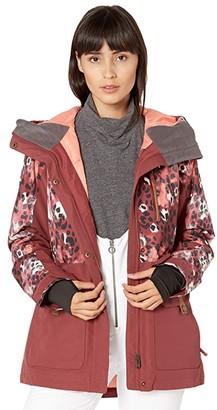 Roxy Andie Parka Jacket (Oxblood Red Leopold) Women's Jacket