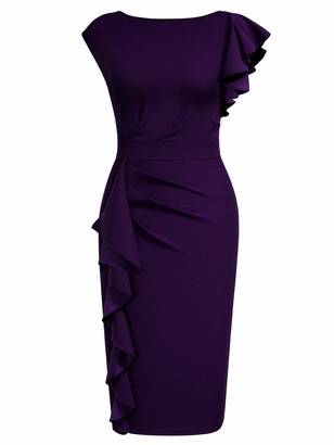 MIUSOL Womens Vintage Ruffle Sleeve Ruched Cocktail Party Pencil Dress