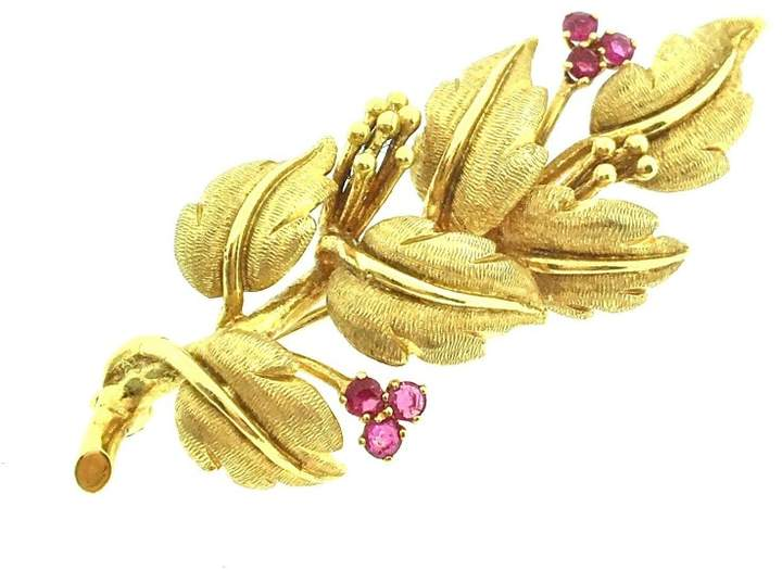 Tiffany & Co. 18K Yellow Gold and Ruby Leaf Spray Pin Brooch