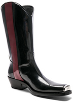 Calvin Klein Leather Ed Western Boots in Black.
