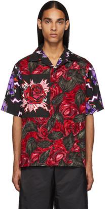Prada Red Universal Studios Edition Rose Printed Bowling Shirt