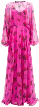 Valentino Balloon-sleeve Floral-print Silk-organza Gown - Pink Print