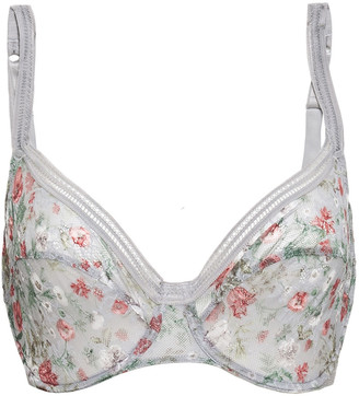 Maison Lejaby Mesh-paneled Floral-print Stretch-lace Underwired Bra