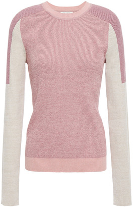 Rag & Bone Tia Color-block Ribbed Organic Cotton-blend Sweater