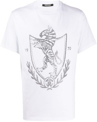 Roberto Cavalli crystal embellished crest T-shirt