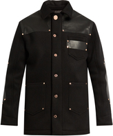 Givenchy Leather-panel wool-blend jacket
