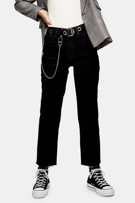 Topshop Womens Considered Black Raw Hem Straight Jeans - Black