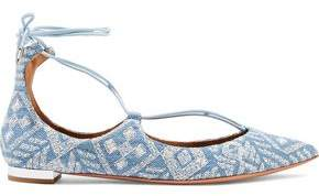 Aquazzura Christy Embroidered Denim Point-Toe Flats