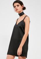 Missguided Petite Exclusive Black Satin Cami Dress