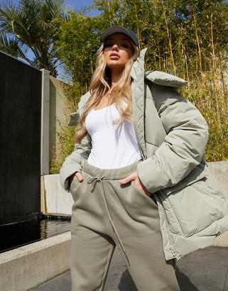ASOS DESIGN oversized puffer jacket in sage
