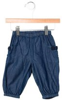 Petit Bateau Girls' Bow-Embellished Chambray Pants w/ Tags