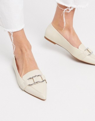 ASOS DESIGN Legit snaffle loafer ballet flats in bone