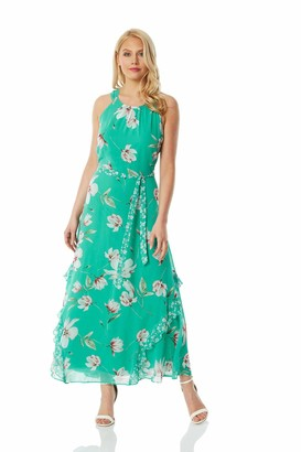 Roman Originals Women Floral Print Frill Midi Dress - Ladies Halterneck Sleeveless Printed Smart Casual Garden Party Ascot Races Special Occasion Wedding Guest Dresses - Green - Size 12