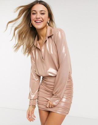 John Zack metallic collar detail shirt dress with ruched skirt detail in rose gold