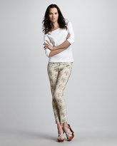 Paige Skyline Keighly Floral-Print Ankle Peg Jeans