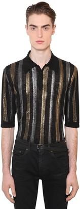 Saint Laurent Striped Linen & Silk Lurex Knit Polo