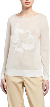 Lafayette 148 New York Fine-spun Voile Sheer Embellished Sweater