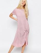 Asos Casual Knot Front Midi T-shirt Dress