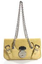Ralph Lauren AUTH Yellow Lizard Skin Silver Chain Strap Dylan Shoulder Handbag