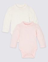 Marks and Spencer 2 Pack Pure Cotton Peter Pan Collar Bodysuits